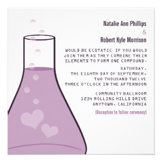 Whimsical Beaker Wedding Invite, Purple