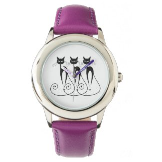 Custom Strap Triplet Black Cat Watch