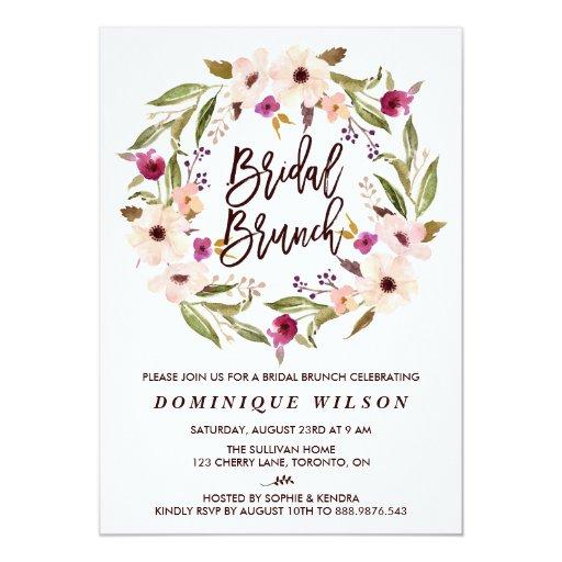 Whimsical Bohemian Floral Wreath Bridal Brunch Card