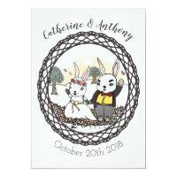 Whimsical Bunny Rabbit Wedding Invitation