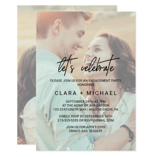 Whimsical Calligraphy Faded Photo Let&#39&#x3B;s Celebrate Invitation