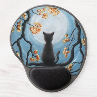 Whimsical Cat in Tree Full Moon Painting Gel Mouse Pad