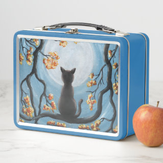 Whimsical Cat in Tree Full Moon Painting Metal Lunch Box