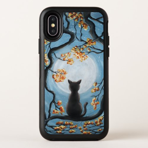 Whimsical Cat in Tree Full Moon Painting OtterBox Symmetry iPhone X Case