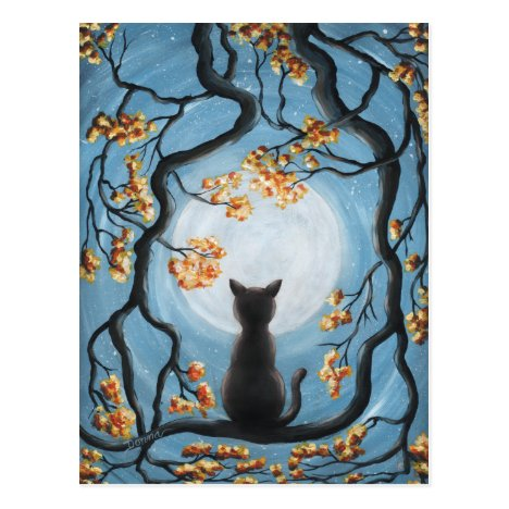 Whimsical Cat in Tree Full Moon Painting Postcard