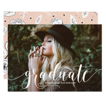 Whimsical Hand Lettered Script Photo Graduation Card