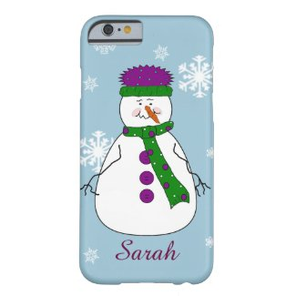 Whimsical Happy Mister Snowman Snow Name Monogram iPhone 6 Case