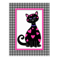 Whimsical Hearts Cat Postcard