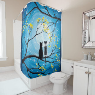 Whimsical Moon with Cats Shower Curtain