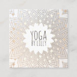 Whimsical Stars Lotus Mandala Flower Yoga Teacher Square Business Card