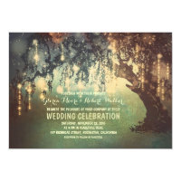 whimsical string lights tree wedding invitations