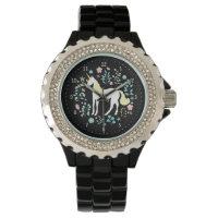Whimsical Unicorn Black Wristwatch