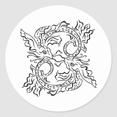 White 2 Oriental Fish Tattoo Stickers by WhiteTiger_LLC
