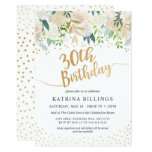 White and Gold Floral 30th Birthday Party Invitation
