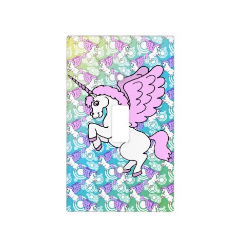 White and Pink Unicorn Light Switch Cover