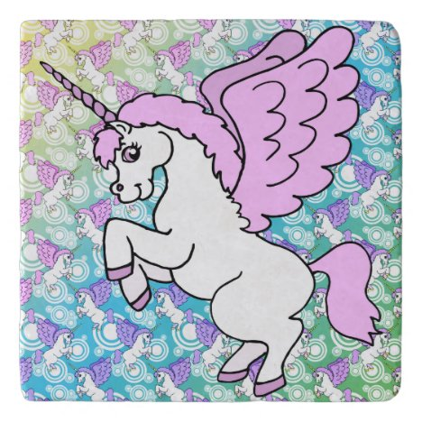White and Pink Unicorn Trivet