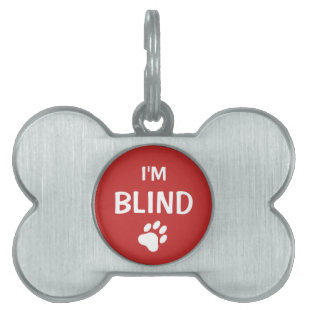White And Red Paw Print Blindness Awareness Pet Name Tags