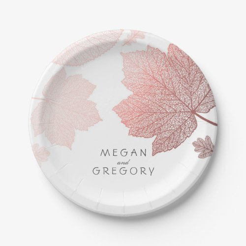 White and Rose Gold Fall Leaves Wedding Paper Plate