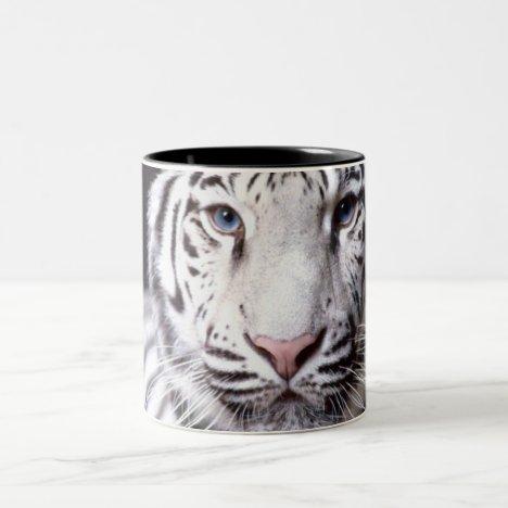 White Bengal Tiger Photography Two-Tone Coffee Mug