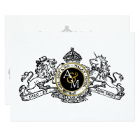 White Black Gold Lion Unicorn Regal Emblem Wedding Card