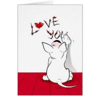 White Bull Terrier Cartoon Card