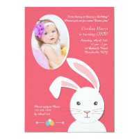 White Bunny Easter Birthday Photo Invitation