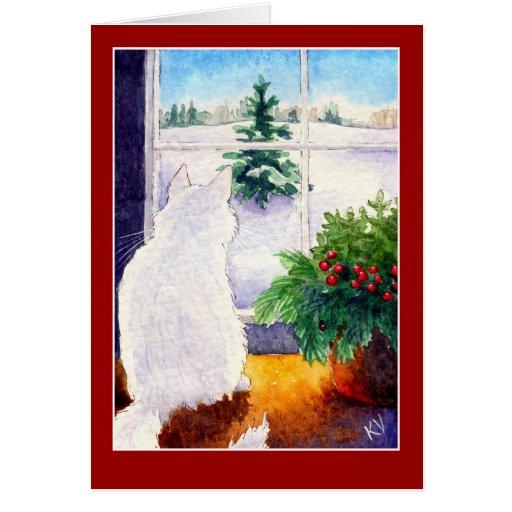 White Cat Christmas Greeting Card Zazzle