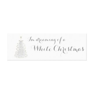 White Christmas Tree Holiday Canvas Wall Art
