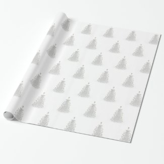 White Christmas Tree Holiday Gift Wrapping Paper