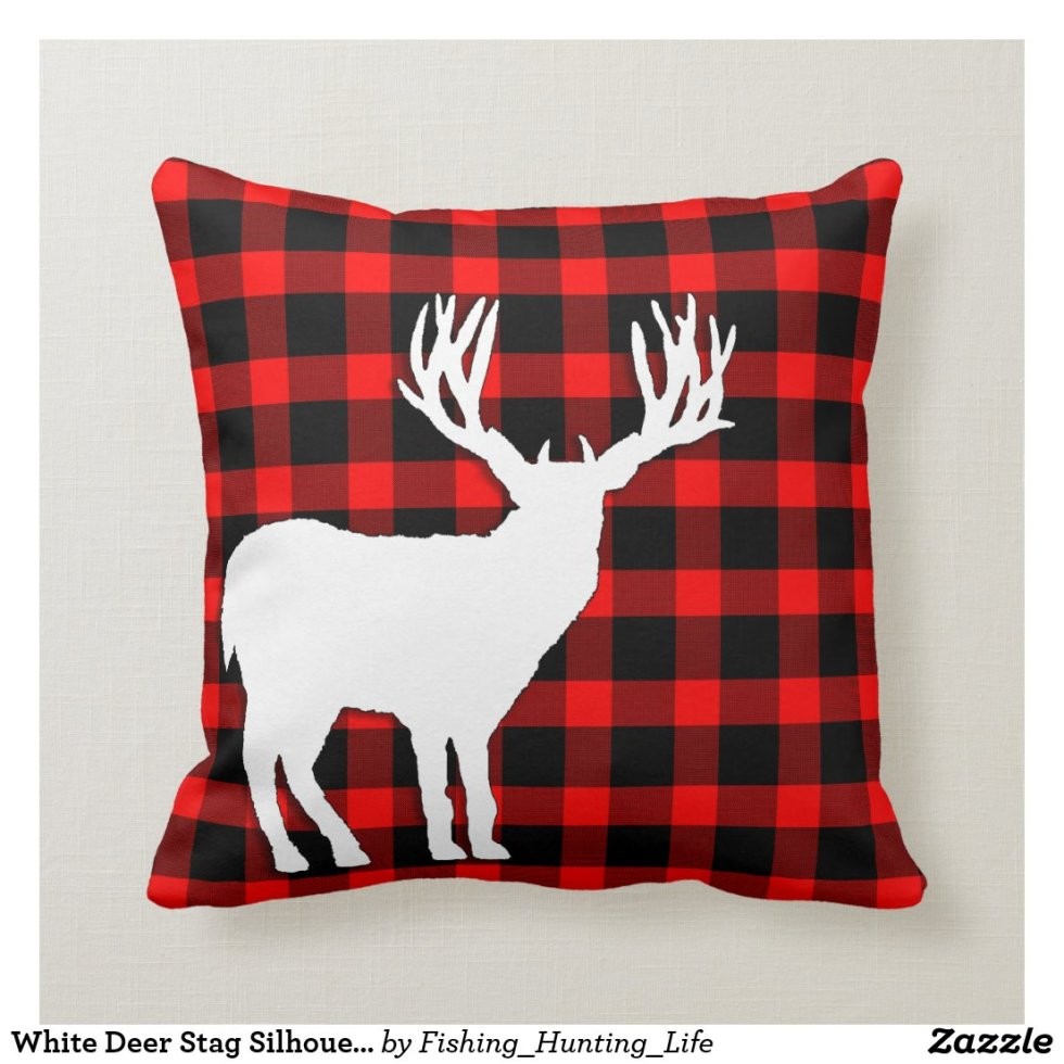 White Deer Stag Silhouette on Red Black Plaid Throw Pillow