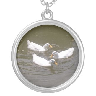 White Ducks Swimming Necklace necklace