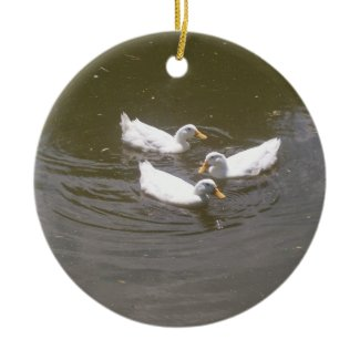 White Ducks Swimming Ornament ornament