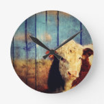 white face cow round wall clocks