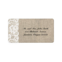 White Lace and Burlap Address Labels