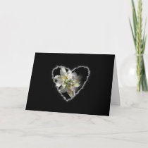 White Lily Heart Valentine Love Romance Card