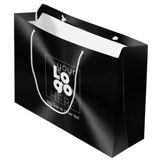 White Logo on Modern Radial Brushed Black Metal Large Gift Bag
