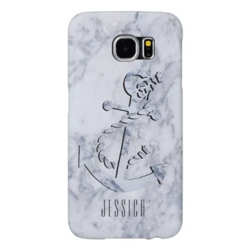 White Marble Print With NauticalBoat Anchor Samsung Galaxy S6 Case