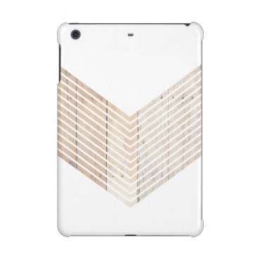 White Minimalist chevron with Wood iPad Mini Retina Cover