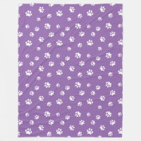 White Paw Prints Pattern with Purple Background Fleece Blanket