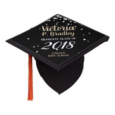 White Pebble Confetti - Custom Graduation Cap Topper
