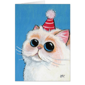 White Persian in a Party Hat - Cat Art Card