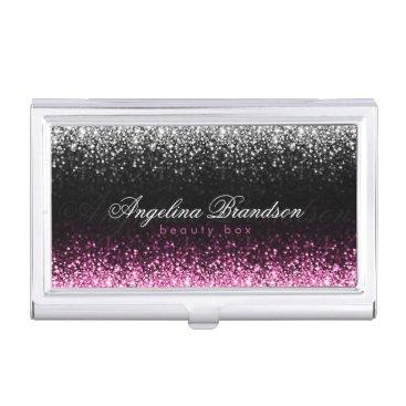 White & Pink Glitter Damask Beauty Expert Holder
