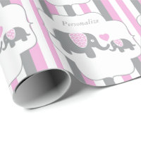 White, Pink U0026 Gray Stripe Elephants Baby Shower Wrapping Paper