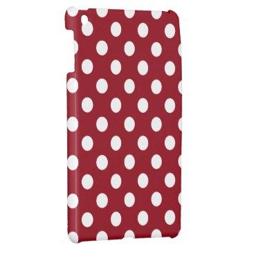 White Polka Dots on Crimson Red iPad Mini Cover