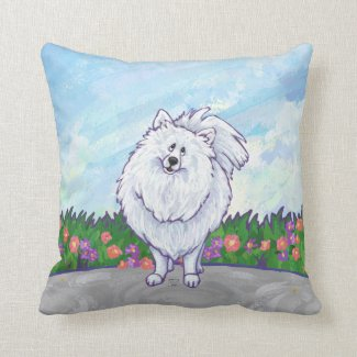 White Pomeranian Gifts & Accessories Throw Pillow