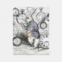 White Rabbit Time Alice in Wonderland Fleece Blanket