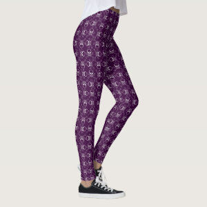 White Skulls and Crossbones With Purple Leggings
