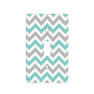 White, Teal and Gray Chevron Pattern Light Switch Cover