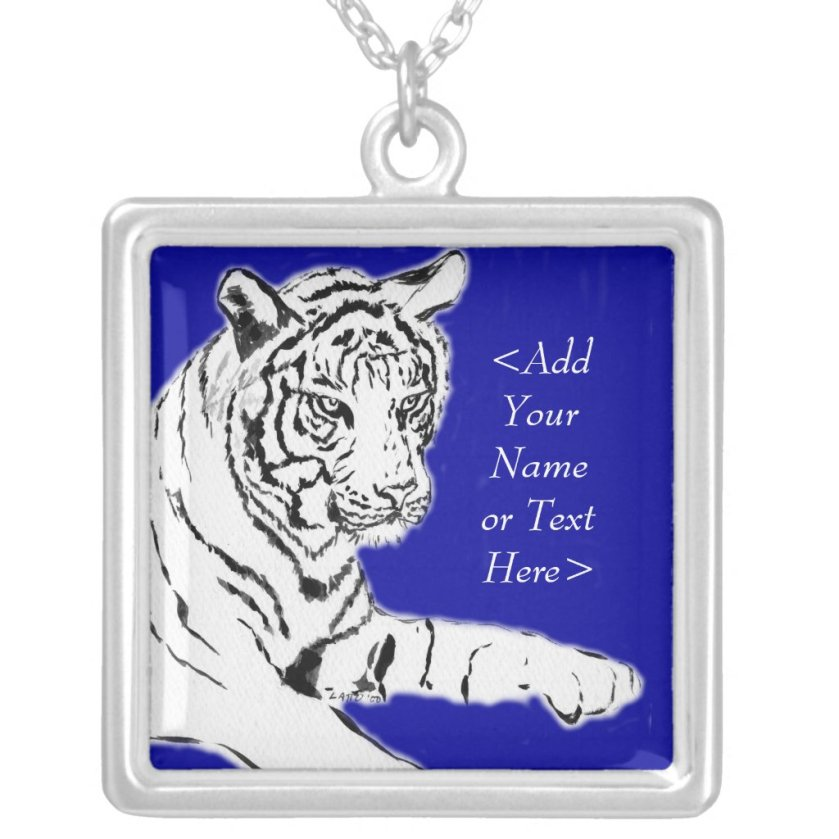 White Tiger Painting Silver Necklace (Custom Name)