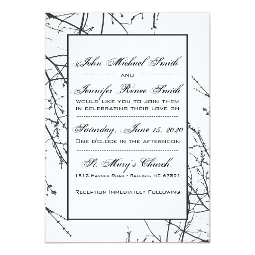 White Tree Branch Silhouette Invite Zazzle